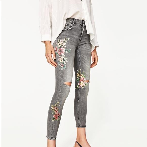 9c9e6da4 Zara Jeans | Nwt Floral Print Gray Denim Distressed | Poshmark
